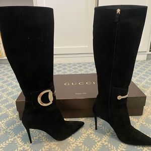 Women's Gucci black suede knee high boot